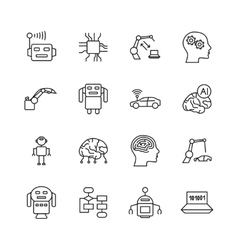 Artificial intelligence ai line icons robot vector