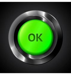 Green ok realistic plastic button vector image