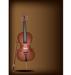 A beautiful brown cello on dark brown background vector