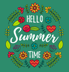 Hello summer time fun quote vector