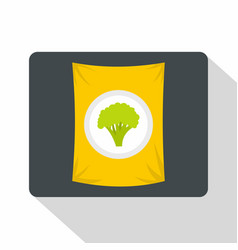 Packet of frozen broccoli icon flat style vector