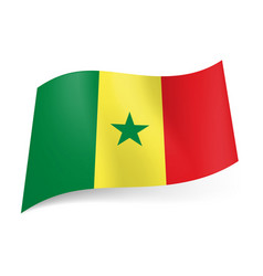 National flag of senegal green yellow and red vector