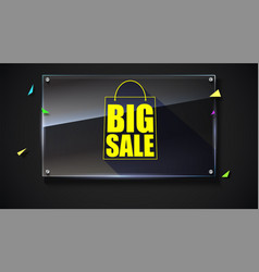big sale text banner on black backdrop ready to vector image