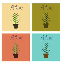 Assembly flat plant aloe vector