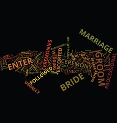 Marriage ceremonies text background word cloud vector