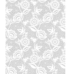Seamless white floral lace pattern vector image