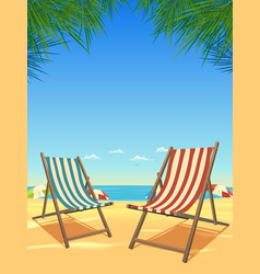 summer beach and chairs background vector image
