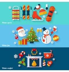 Winter banners set vector
