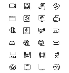 Cinema line icons 2 vector