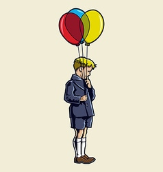 Kid with baloon vector