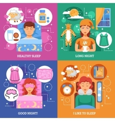 Healthy sleep concept flat icons square vector