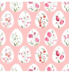Seamless pattern with stylized eggs and spring vector