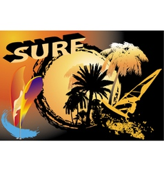 Background with surfers vector