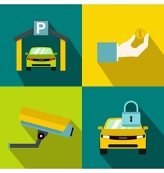 Parking banners set flat style vector