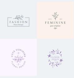 Abstract feminine signs or logo templates vector