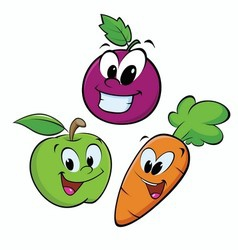 Apple grape carrot vector