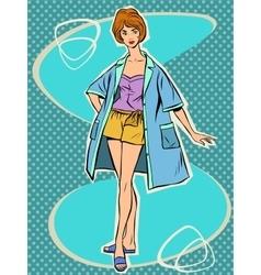 Beautiful girl in retro summer pajamas vector image vector image