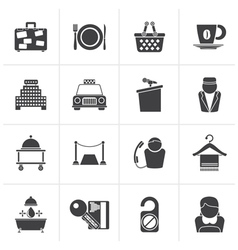 Black hotel and motel services icons vector