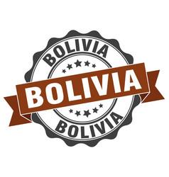 Bolivia round ribbon seal vector