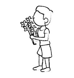 Boy son with bunch flower sketch vector