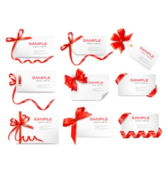 cards with red gift bows vector image