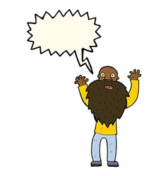 Cartoon frightened old man with beard with speech vector