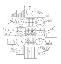 Chart diagram icon set outline style vector