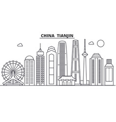 china tianjin architecture line skyline vector image vector image