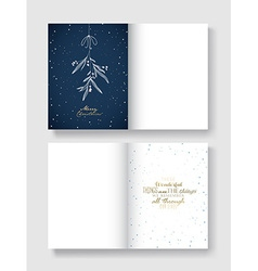 Christmas greeting card template with hanging vector image vector image