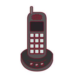 Colorful graphic of cordless phone with dark red vector
