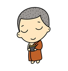 Cute buddhist monk vector