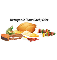 Different types of food for ketogenic diet vector