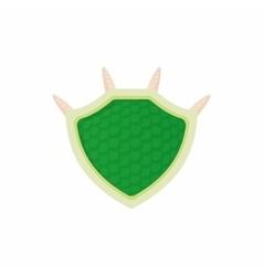 Green protective shield icon cartoon style vector