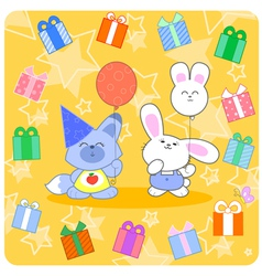 Happy birtday with cute animals and gifts vector
