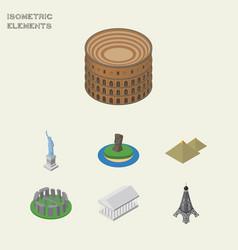 Isometric cities set of athens paris england vector