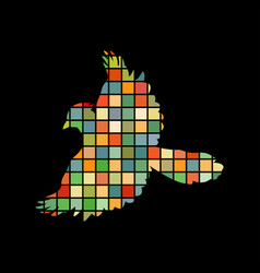 Jay bird mosaic color silhouette animal background vector