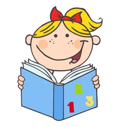 Kid Girl Reading A Book vector image vector image
