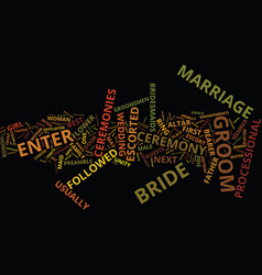 Marriage ceremonies text background word cloud vector