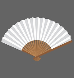 Opened fan white and wooden in vector image