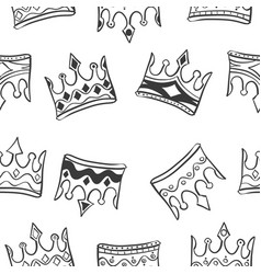 pattern crown style hand draw vector image vector image