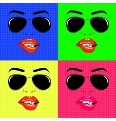 Set of girl face outline with sunglasses vector