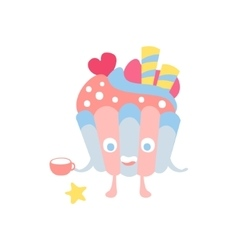 Blue and pink decorated cupcake children birthday vector