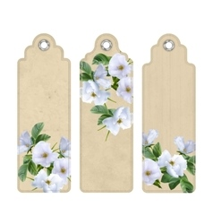 Bookmark with white flowers vector