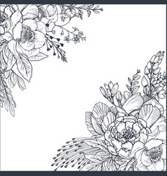 Floral backgrounds with hand drawn flowers and vector