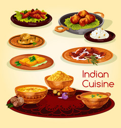 Indian cuisine dinner dishes cartoon menu design vector