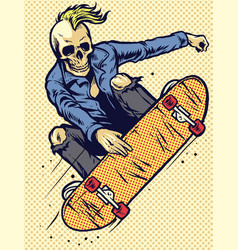 hand drawing style skull play skateboarding vector image
