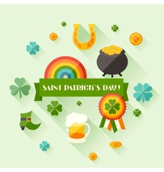 Saint Patricks Day greeting card in flat design vector image