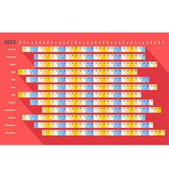 Red flat linear calendar 2015 with long shadow vector