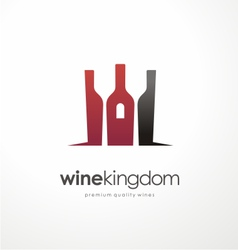 Wine bottle symbol with glasses in negative space vector