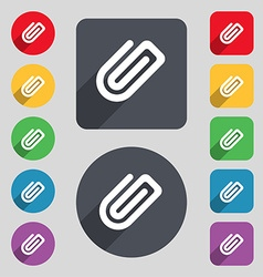 Paper clip icon sign a set of 12 colored buttons vector
